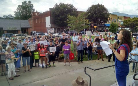 Waynesville gathers to remember Heather Heyer.
