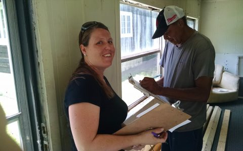 Gina, a Down Home NC member in Whitsett, NC is going door to door to talk to her neighbors about community issues.