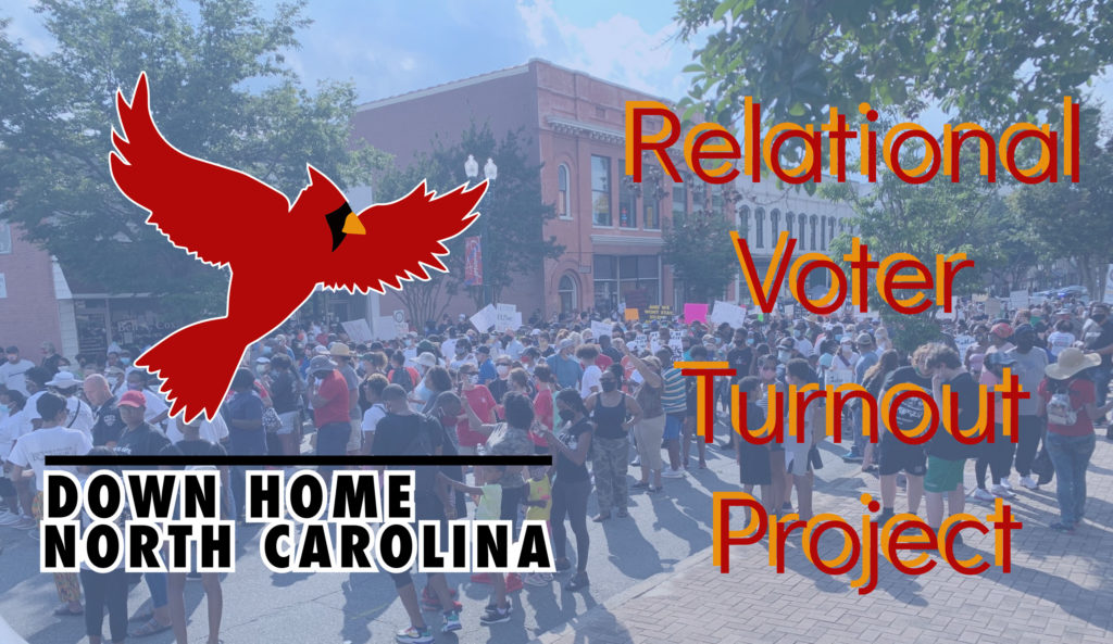 Relational Voter Turnout project header image and Down Home logo